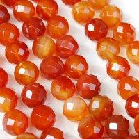 連 カーネリアン(オレンジ) カット 14mm    品番: 3957