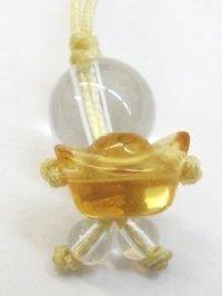ストラップ ちびっ子水晶 合成シトリン元宝    品番: 6715
