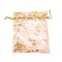 袋 オーガンジー 薔薇柄 ピンク 大 10枚セット    品番: 8286