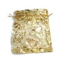 袋 オーガンジー 薔薇柄 金 大 10枚セット    品番: 8288