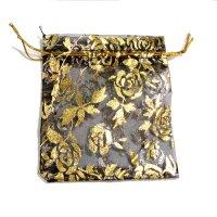 袋 オーガンジー 薔薇柄 黒 大 10枚セット    品番: 8290