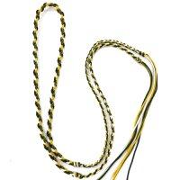 ネックレス紐 二重三つ編 緑×黄×白 約90cm    品番: 9493