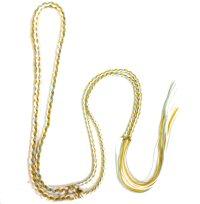 ネックレス紐 二重三つ編 水色×白×黄 約90cm    品番: 9491