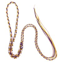 ネックレス紐 二重三つ編 紫×桃×黄 約90cm    品番: 9490