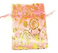 袋 オーガンジー 薔薇柄 ピンク 中 10枚セット    品番: 8292