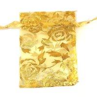 袋 オーガンジー 薔薇柄 金 中 10枚セット  品番: 8294  品番: 8294