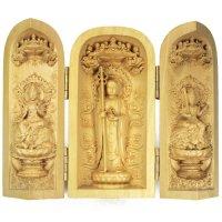 柘植の木彫(筒型) 地蔵菩薩・文殊菩薩・普賢菩薩    品番: 7563