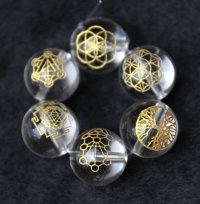 【オリジナル商品】カービング 神聖幾何学模様 水晶(金彫り) 12mm 6種セット  品番: 7082