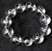 【オリジナル商品】カービング 占星術 水晶(銀彫り) 12mm 11種類セット  品番: 8006