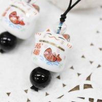 縁起物ストラップ ネコ招福 オニキス  品番: 9907