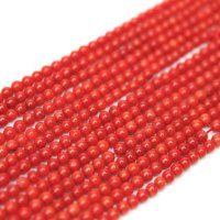 連 染めサンゴ(赤)  丸  2mm    品番: 9495