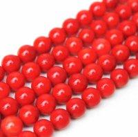 連 染めサンゴ(赤)  丸  8mm  AA    品番: 9823