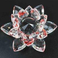 クリスタルガラス蓮花台 レッドカラー 大サイズ  品番: 10159