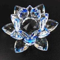クリスタルガラス蓮花台 ブルーカラー 大サイズ  品番: 10156