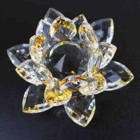 クリスタルガラス蓮花台 イエローカラー 小サイズ  品番: 10088