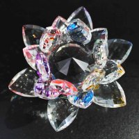 クリスタルガラス蓮花台 ミックスカラー 大サイズ  品番: 10153