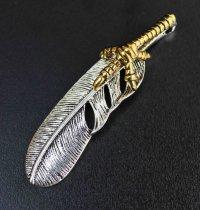 真鍮パーツ フェザー 鳥の足 約6cm  品番: 10150