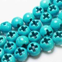 連 キャンディクォーツァイト ライトブルー くりぬき 丸 十字架 クロス  12mm   品番: 11127