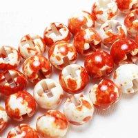 連 キャンディクォーツァイト オレンジ くりぬき 丸 十字架 クロス  12mm   品番: 11128