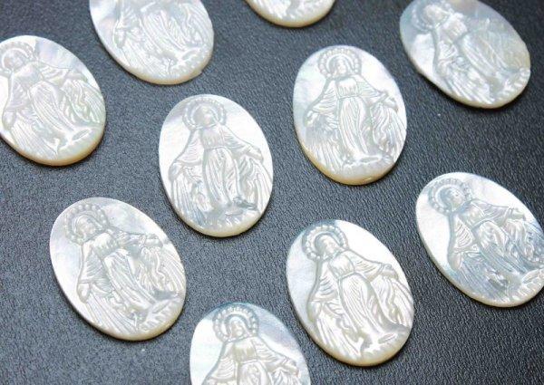 画像2: マザーオブパール 白蝶貝 聖母 マリア 彫刻 パーツ 1個 品番: 11827