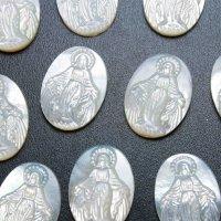 マザーオブパール 白蝶貝 聖母 マリア 彫刻 パーツ 1個 品番: 11827