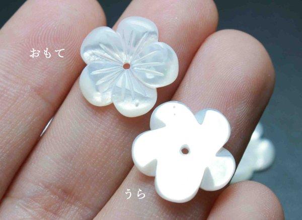 画像3: マザーオブパール 白蝶貝 花 フラワー 彫刻 パーツ 1個 品番: 11833