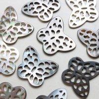 アバロンシェル 孔雀貝 蝶 バタフライ 彫刻 パーツ 1個 品番: 11835