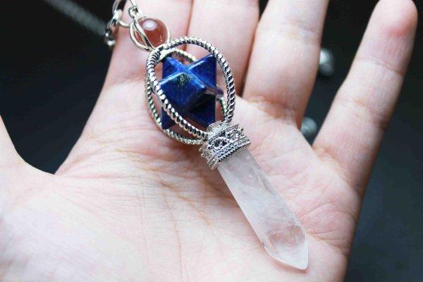 画像2: ペンデュラム ラピスラズリ 水晶 マカバスター入り 振り子 ダウジング 品番: 11862