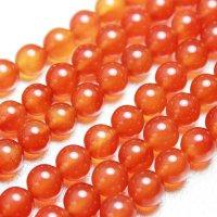 連 カーネリアン オレンジ   丸  8mm    品番: 3948