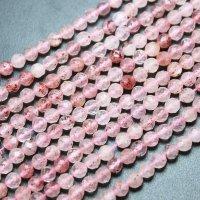 【春アイテム特集】 連 ストロベリークォーツ ピンクマンガンエピドート カット 4.5mm 品番: 4293