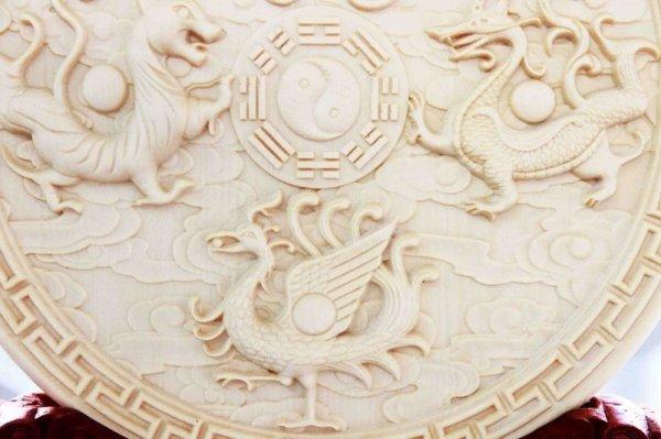 画像3: 【当店オリジナル】 柘植の木 彫り物 置物 四神 台座付き 品番: 10179