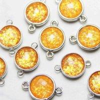 コネクトパーツ 合成オパール オレンジ 表面カット加工有 1個 品番: 10933