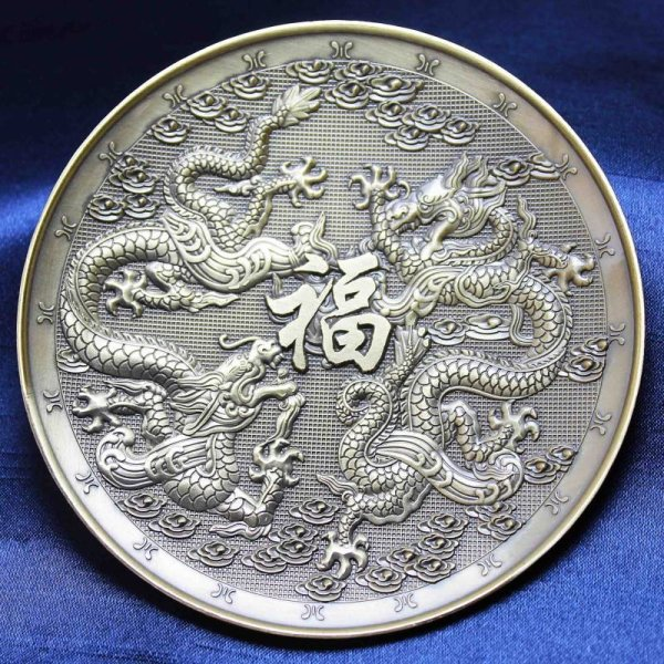 画像1: 置物 彫り物 お香受け皿 さざれ皿 真鍮製 双龍 約10cm 品番: 10169