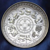 置物 彫り物 お香受け皿 さざれ皿 真鍮製 干支 約10cm  品番: 10101