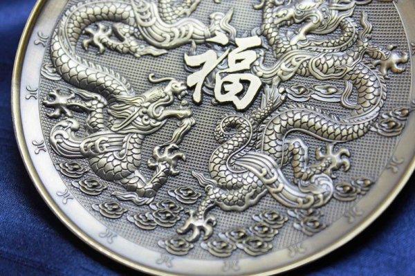 画像3: 置物 彫り物 お香受け皿 さざれ皿 真鍮製 双龍 約10cm 品番: 10169