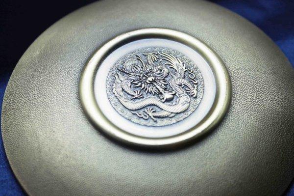 画像5: 置物 彫り物 お香受け皿 さざれ皿 真鍮製 双龍 約10cm 品番: 10169