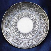 置物 彫り物 お香受け皿 さざれ皿 真鍮製 花曼荼羅 約10cm  品番: 11094