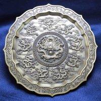 置物 彫り物 お香受け皿 さざれ皿 真鍮製 九龍壁 約11.5cm 品番: 6143