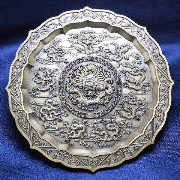 画像1: 置物 彫り物 お香受け皿 さざれ皿 真鍮製 九龍壁 約11.5cm 品番: 6143