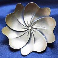 置物 彫り物 お香受け皿 さざれ皿 真鍮製 蓮の葉 約9cm 品番: 6192