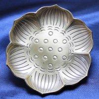 置物 彫り物 お香受け皿 さざれ皿 真鍮製 蓮模様 約9cm 品番: 10175