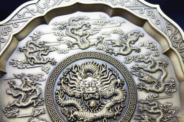 画像2: 置物 彫り物 お香受け皿 さざれ皿 真鍮製 九龍壁 約11.5cm 品番: 6143