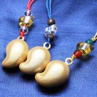 ストラップ 黄水晶 元宝の勾玉 鈴 水晶・シトリン  品番: 10563