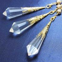 装飾ペンデュラム 水晶 クリスタル ゴールドカラー 品番: 10224