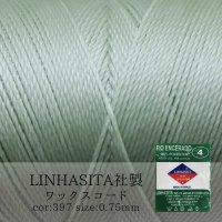 ワックスコード LINHASITA社製 マカロングリーン 0.75mm 約210m ロウ引き紐 F 397  品番: 10709