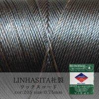 ワックスコード LINHASITA社製 チョコレート 0.75mm 約210m ロウ引き紐 L 205  品番: 11484
