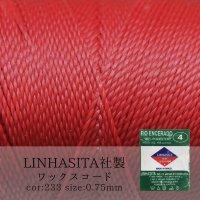 ワックスコード LINHASITA社製 レッド 0.75mm 約210m ロウ引き紐 K 233 品番: 5756