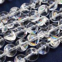【新価格!】連 ヒマラヤ産 天然アイリスクォーツ  虹入り水晶 丸  6mm 品番: 9698