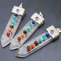 ペンダントトップ チャーム 剣形状セブンチャクラ 水晶 品番: 6184