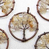 ペンダントトップ 世界樹 ワールドツリー さざれ シトリン 品番: 11791